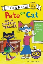 Book cover of PETE THE CAT & THE SURPRISE TEACHER