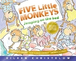 Book cover of 5 LITTLE MONKEYS JUMPING ON THE BED 25TH