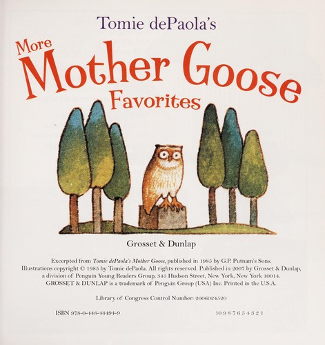 Book cover of MORE MOTHER GOOSE FAVORITES